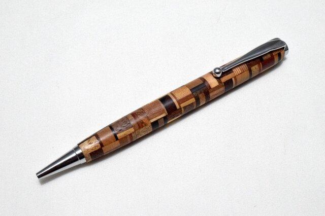 【寄木】手作り木製ボールペン スリムライン CROSS替芯の画像1枚目