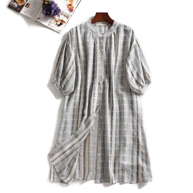 ★送料無料★f8051702ニュアンス放つ 7分袖 ワンピース コットン100%夏の日焼け止めにもの画像1枚目