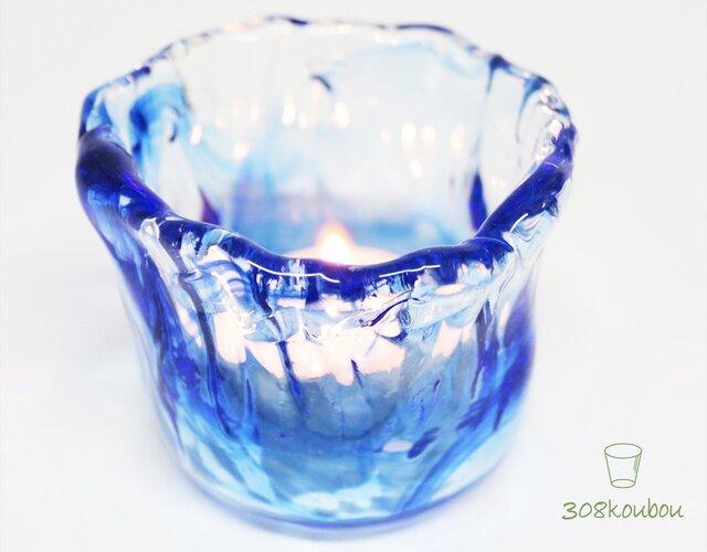 ♦送料無料◆ウェーブキャンドルホルダー青の画像1枚目