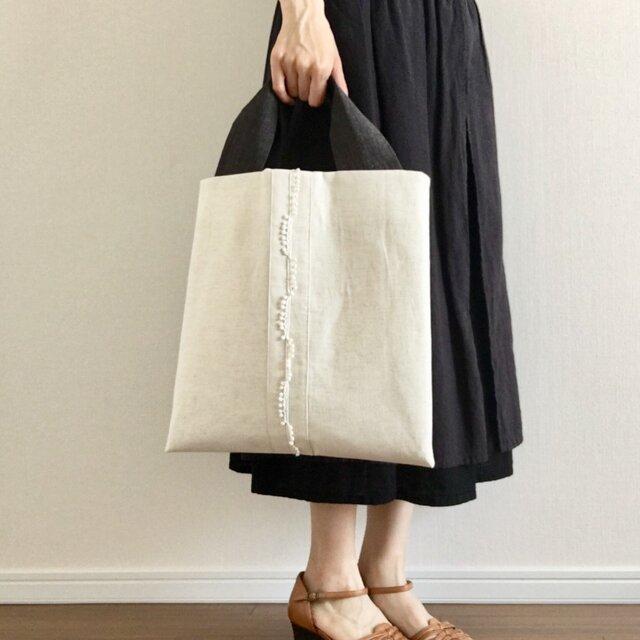 再販 [リネン/麻] 夏のシンプル トートバッグ アイボリーの画像1枚目