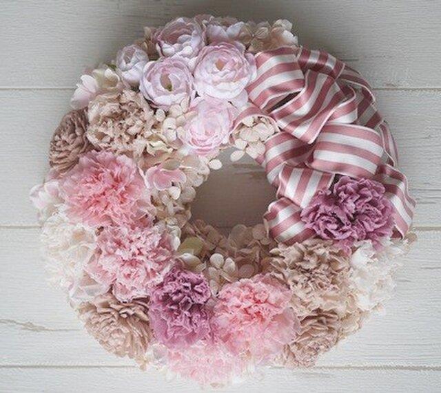 ふんわりカーネのプリザリース pinkの画像1枚目