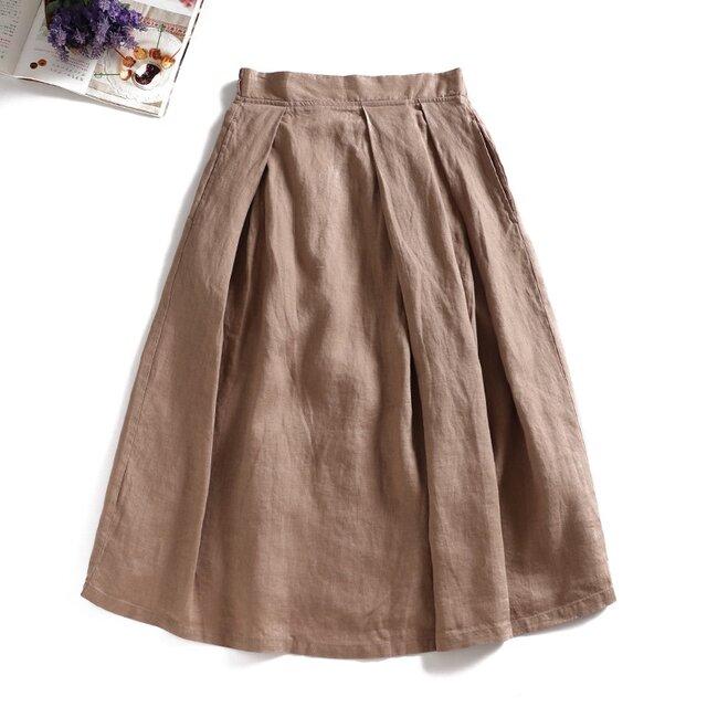 f8051719 リネン100% 日常にも通勤にも 合わせやすい リネンのスカートの画像1枚目