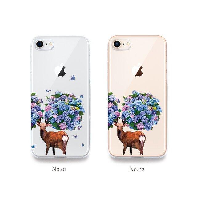 鹿紫陽花(アジサイ) プリントケース iPhone7 iPhoneケース各種 スマホケースの画像1枚目