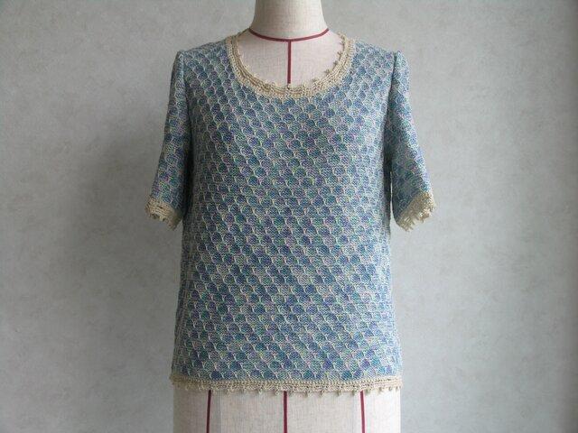 ブルーの半袖セーター の画像1枚目