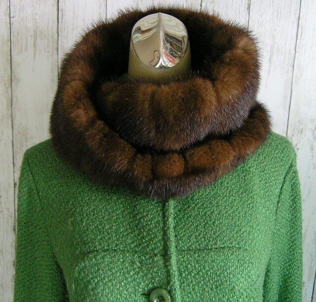 ¶ new antique fur ¶ マホガニーミンクファーゆったりnejiriスヌード「may」の画像1枚目