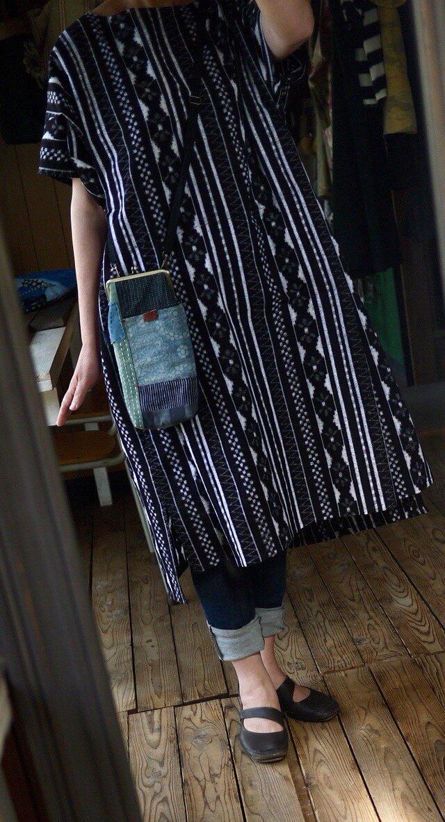 久留米絣変形ワンピースの画像1枚目