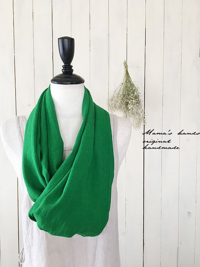 リトアニア リネン 緑 グリーン ストールの画像1枚目