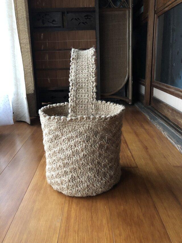 麻ひも バスケット型 野菜収納 バッグの画像1枚目