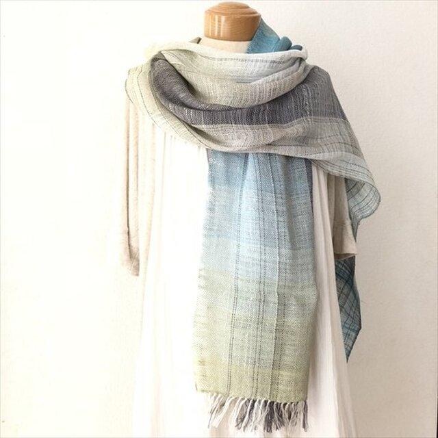 手織りストール  シルクとリネンの画像1枚目