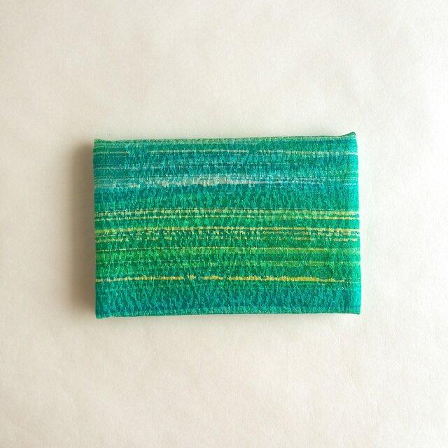 絹手染カード入れ(横・緑系ぼかし)の画像1枚目