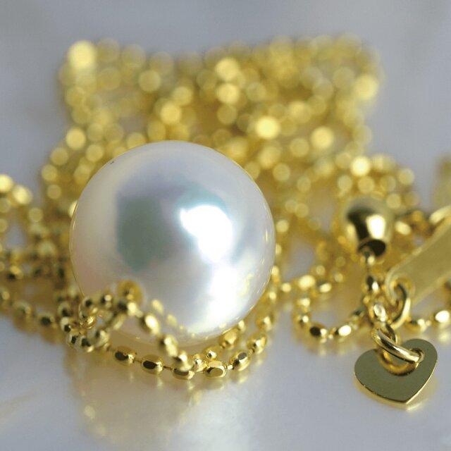 大粒アコヤ真珠スルーペンダント あこやパール K18 日本製ゴールドチェーン 金属アレルギー対応 送料無料の画像1枚目