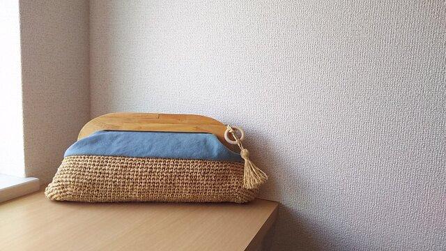 マダガスカル産ラフィアとヴィンテージ帆布の木工口金クラッチバッグ(sora)の画像1枚目