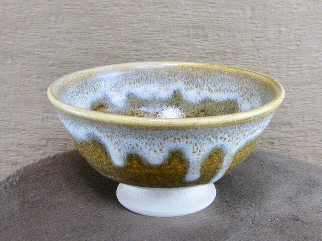 陶器ご飯茶碗(大)そば釉+白の画像1枚目