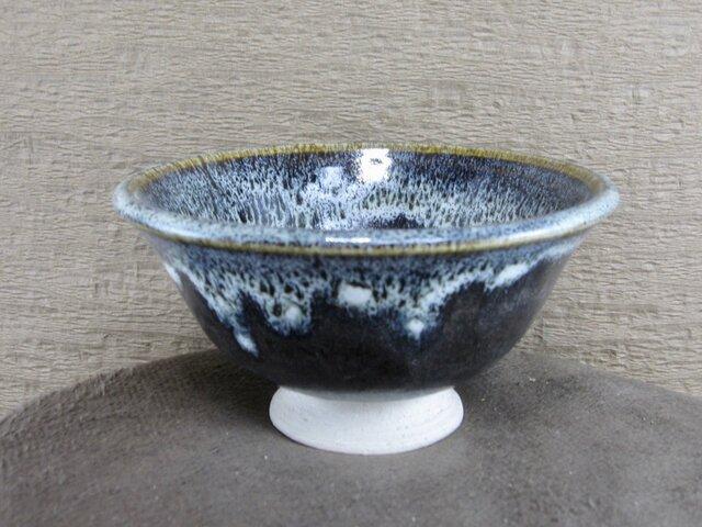 陶器ご飯茶碗(大)青黒+白の画像1枚目