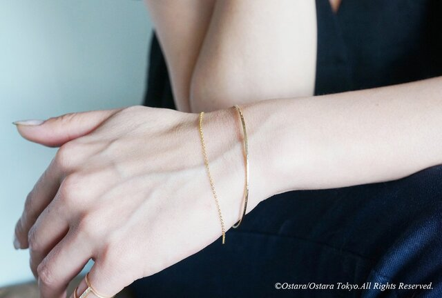 【14KGF】Hammered Open Chain Bangleの画像1枚目