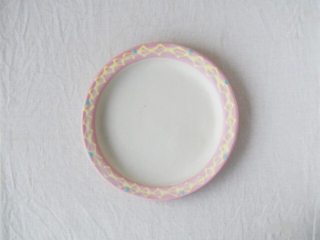 いっちん丸リム皿-ピンク-の画像1枚目