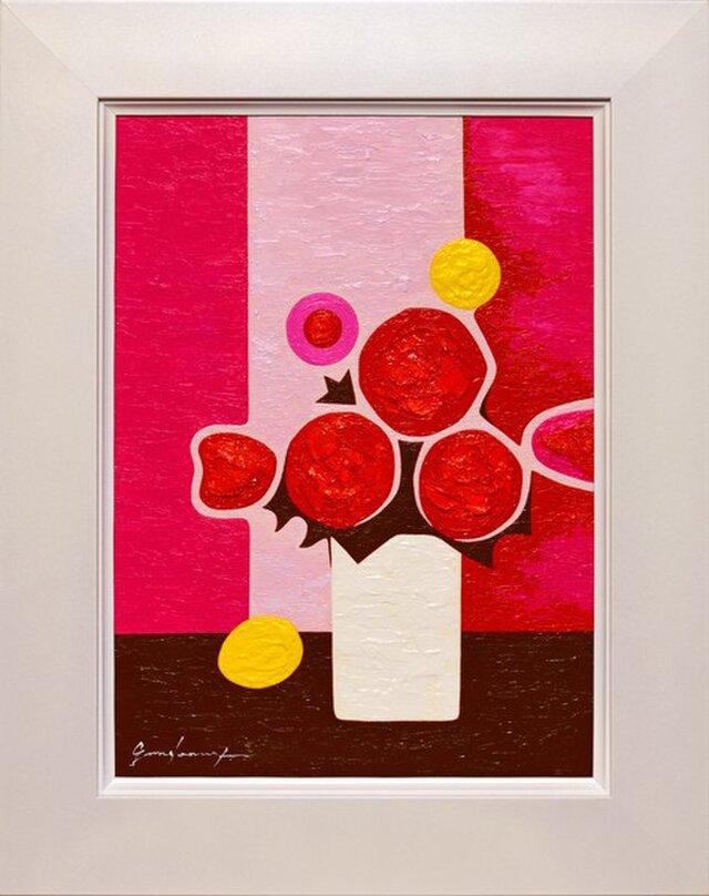 ●『ピンクの背景の花』●がんどうあつし絵画油絵F4号ホワイト額付縦43.8cm●優しさ生命癒しの画像1枚目