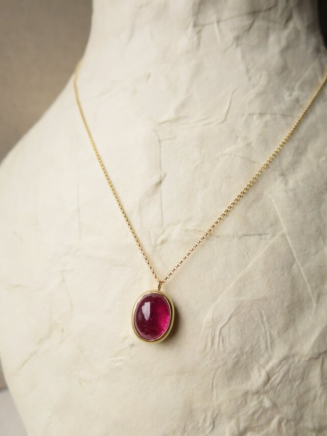 K18 Pink Tourmaline  Pendant Necklaceの画像1枚目