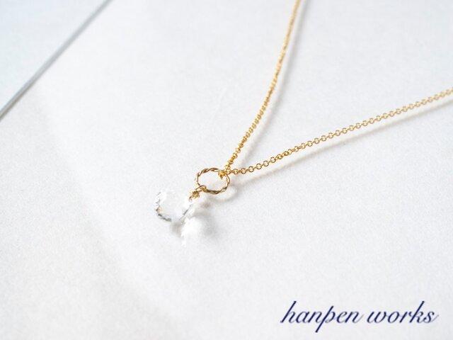 14kgf 宝石質 クリスタル (水晶) 一粒 ネックレスの画像1枚目