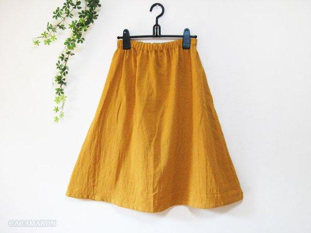 着丈が選べる綿麻ギャザースカート マスタード【受注】の画像1枚目