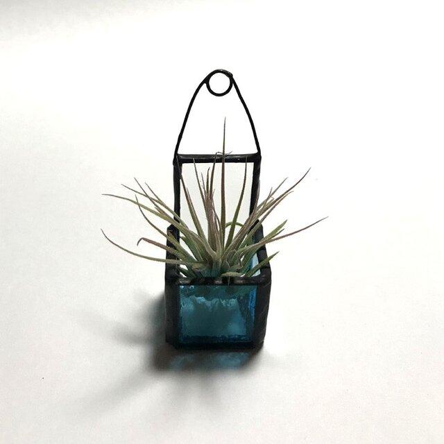 ステンド調エアプランツバケット cube(ミニ)アクアブルー No,2356の画像1枚目
