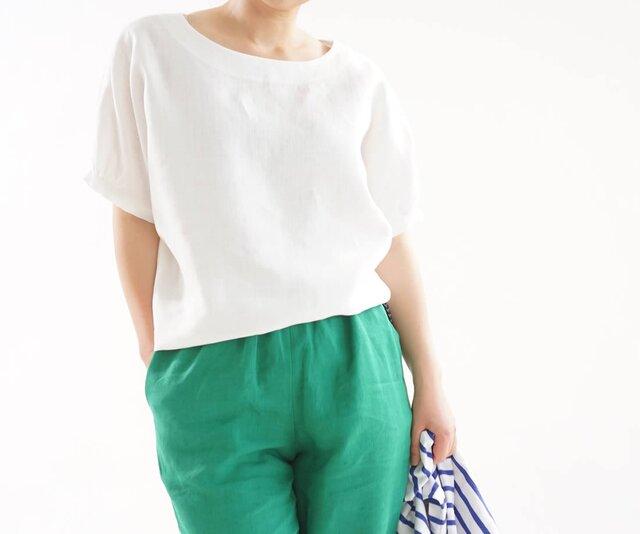 【wafu】中厚 リネン ブラウス ドルマンスリーブ チュニック Tシャツ トップス / ホワイト t12-11の画像1枚目
