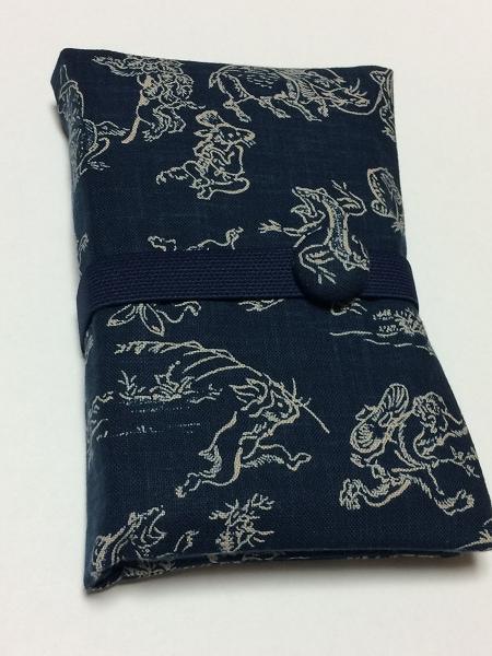 御朱印帳ケース2冊用~鳥獣戯画(紺)の画像1枚目
