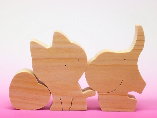 送料無料 木のおもちゃ ぞうとネコのカップルの画像1枚目