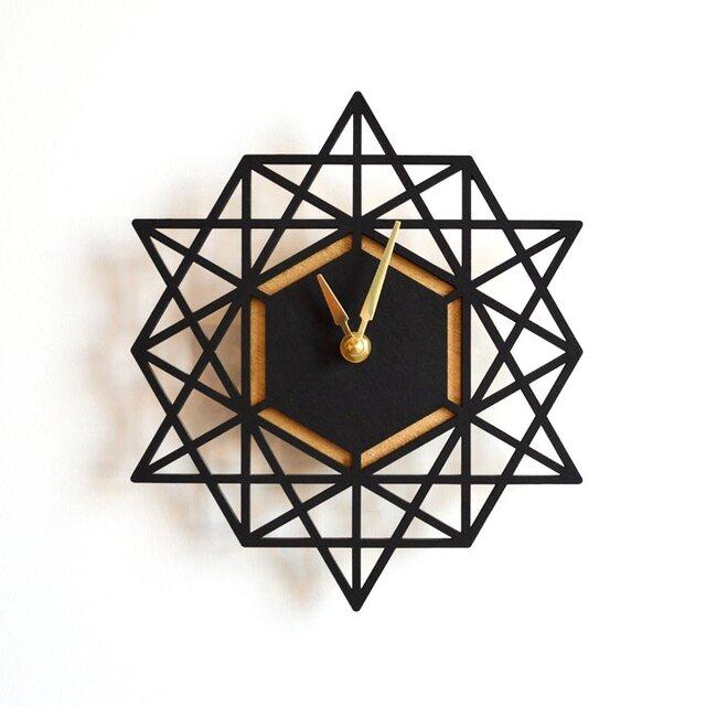 Decoylab モダン・ジオメトリーの掛け時計 Large(BLACK-L)の画像1枚目