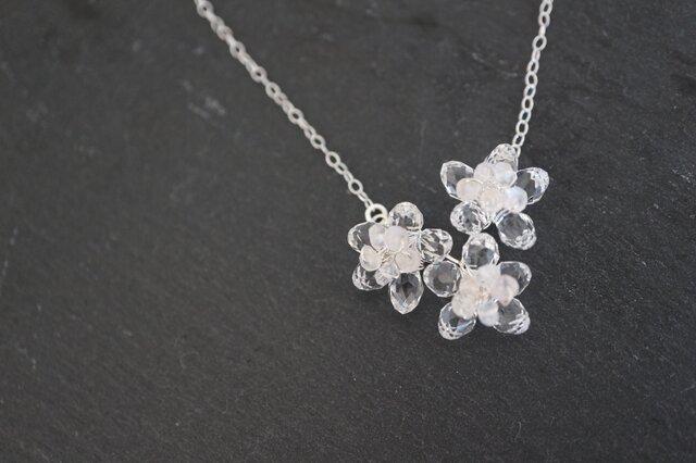 スワロの寄り添う桜ネックレス sterling silverの画像1枚目