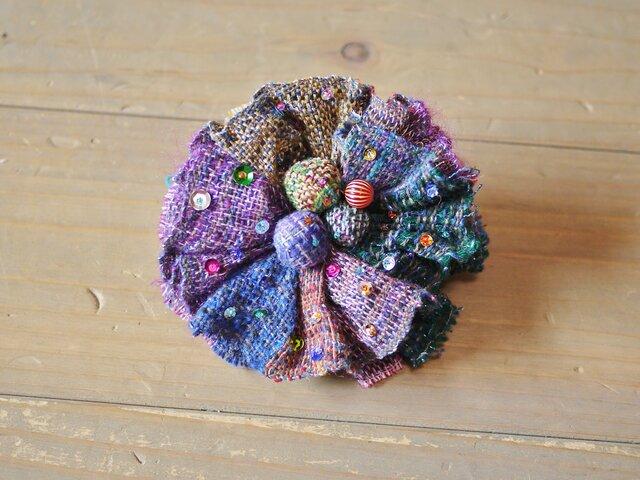 手織り 夜の星コサージュの画像1枚目