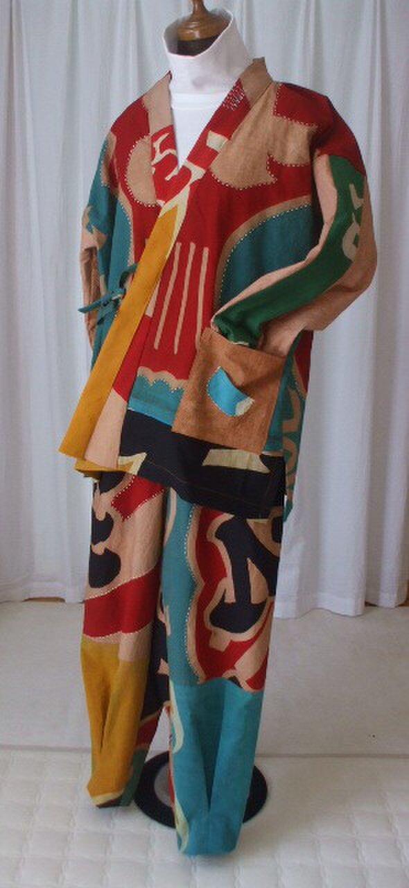 大漁旗から作った作務衣 木綿の画像1枚目