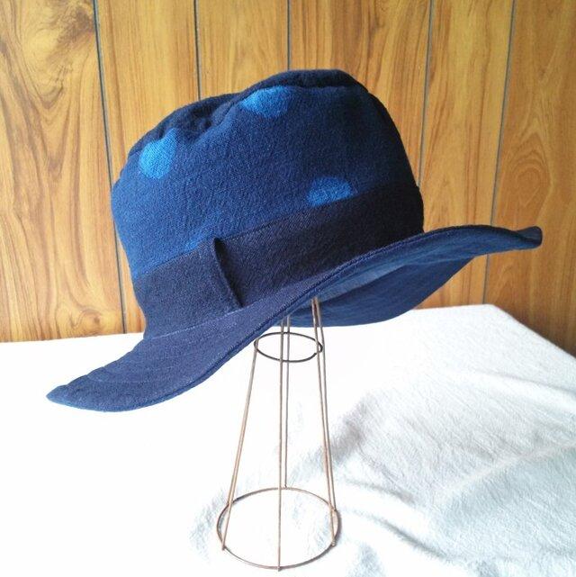 藍染めコットンのハット(あわい水玉)の画像1枚目