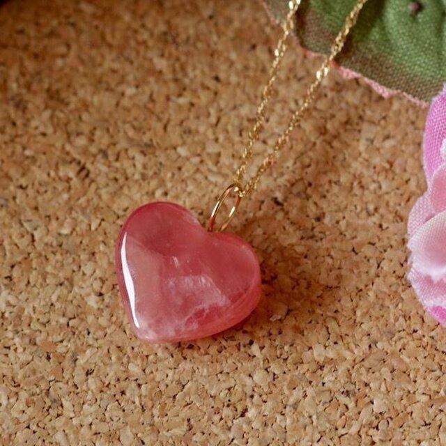 天然ロードクロサイトK18ネックレス33.03ct☆濃いピンク色が可愛いの画像1枚目