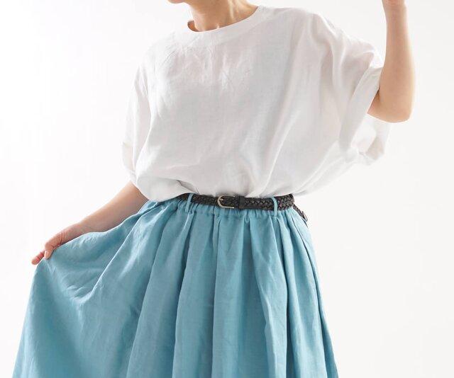 【wafu】中厚 リネン ブラウス ビックサイズ Tシャツ 背中ファスナー ドロップショルダー/ホワイト t016c-wht2の画像1枚目
