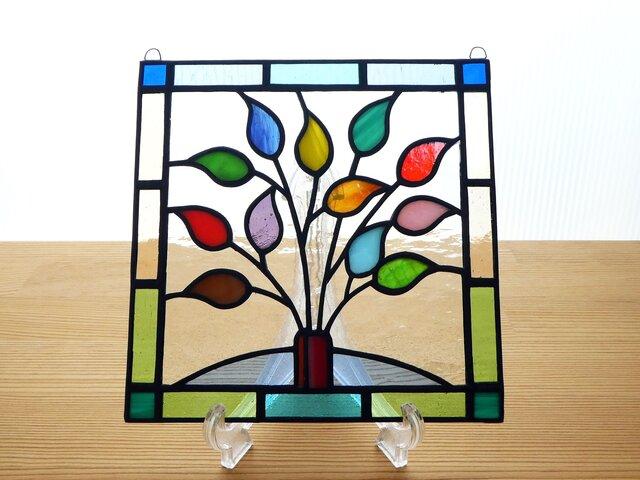 ステンドグラス ミニパネル リーフ(g) 15cmの画像1枚目