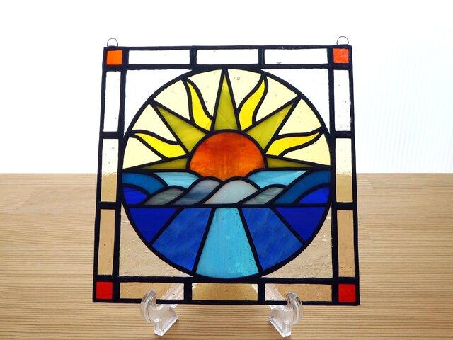 ●ご予約分● ステンドグラス ミニパネル サンライズ 15cmの画像1枚目