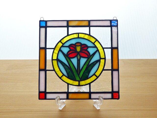 ステンドグラス ミニパネル フラワー・黄サークル 15cmの画像1枚目