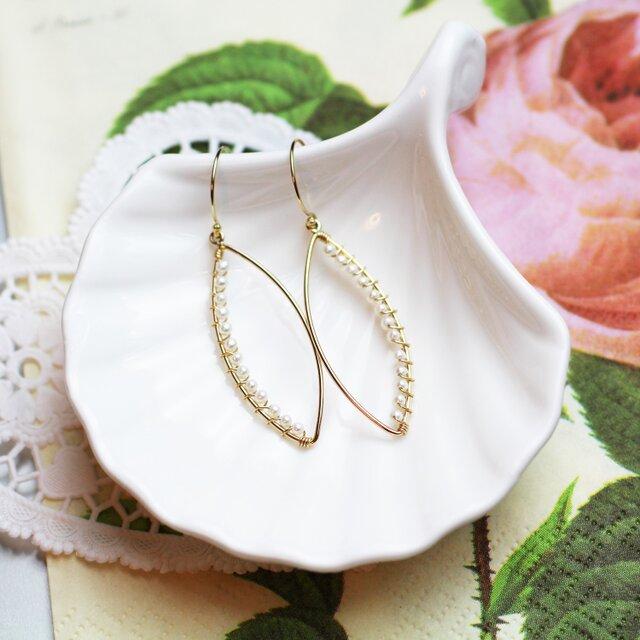 送料無料☆14kgf Marquis Hook Earrings(Freshwater pearl) 淡水パール フック ピアスの画像1枚目