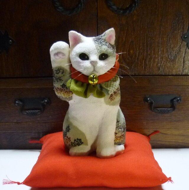 江戸縮緬の招き猫 アンティークの画像1枚目
