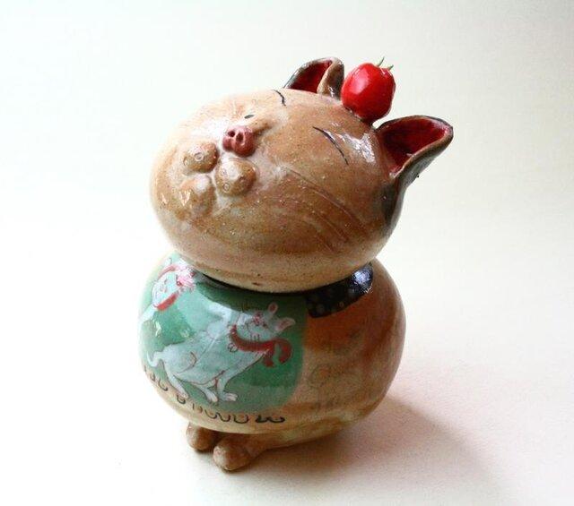 日本猫とトマトの陶箱 / 陶器 / 陶筥/ 猫 /陶芸家 / cute ceramic boxの画像1枚目