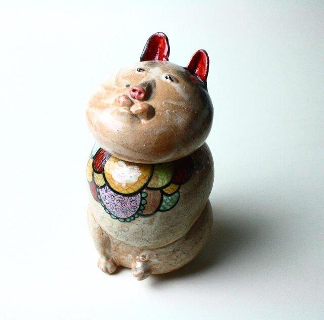 日本猫の陶箱 / 陶器 / 陶筥/ 猫 /陶芸家 / cute ceramic boxの画像1枚目