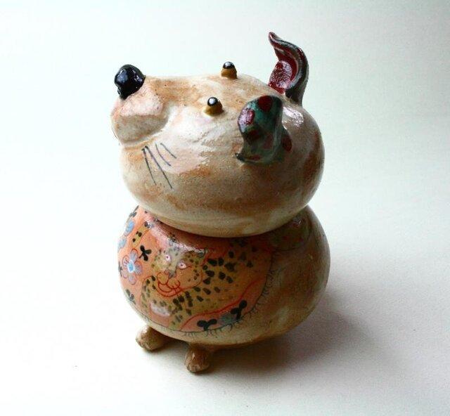 犬の陶箱 / 陶器 / 陶筥/ 犬とヒョウ / 陶芸家 / cute ceramic boxの画像1枚目