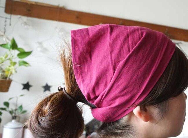 綿麻ラズベリーカラーのヘアターバンの画像1枚目