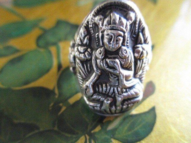 期間限定 1点物 手作りシルバー925 手彫り 緑多羅菩薩様/グリーンターラ リングの画像1枚目
