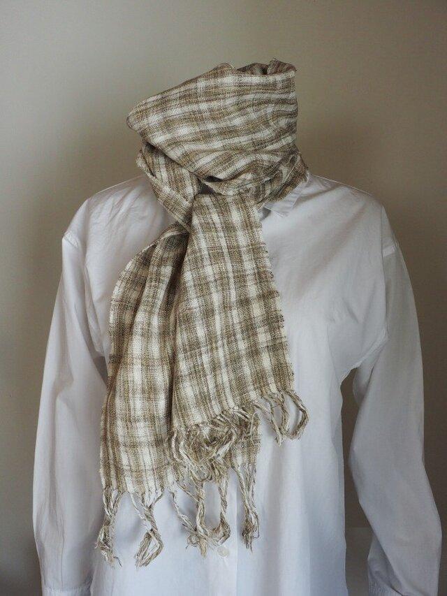 手紡ぎ緑綿絹混手織りストール細判の画像1枚目