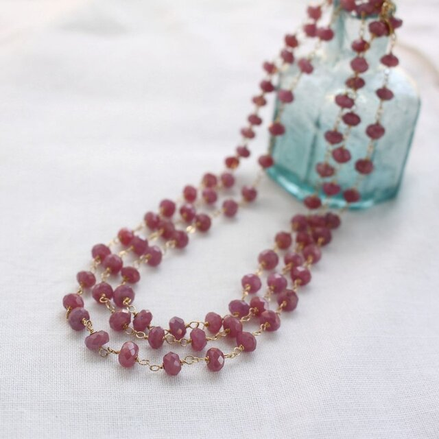 Faceted Ruby Long Necklace w/ 14KGF ルビーのロングネックレスの画像1枚目