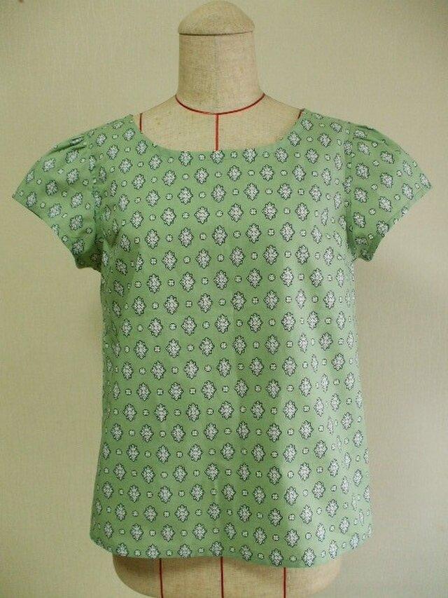 プロヴァンス風プリント ラウンドネックギャザー袖プルオーバー M~Lサイズ  綿 グリーン色 受注生産の画像1枚目
