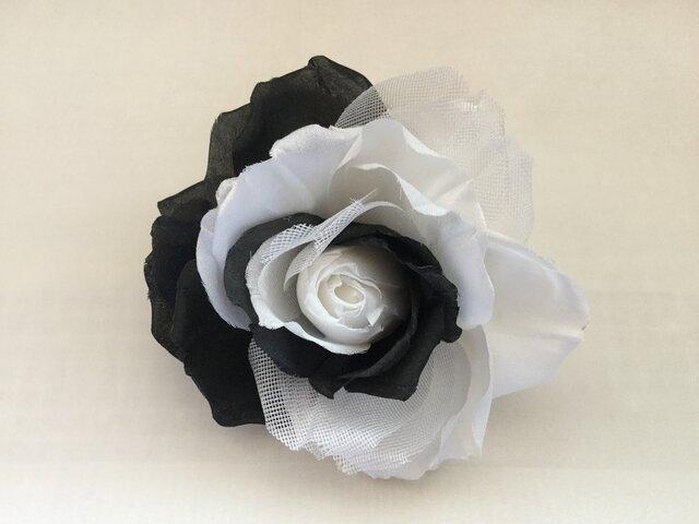 白と黒の薔薇の画像1枚目