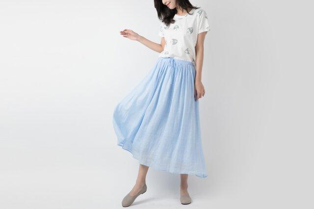 ラミー 手染め軽やかロングスカート ♪Lightblue♪の画像1枚目